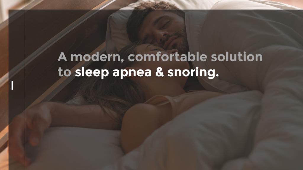 "Sleep apnea ebook, image of young couple sleeping side by side with ""A modern, comfortable solution to sleep apnea & snoring"""